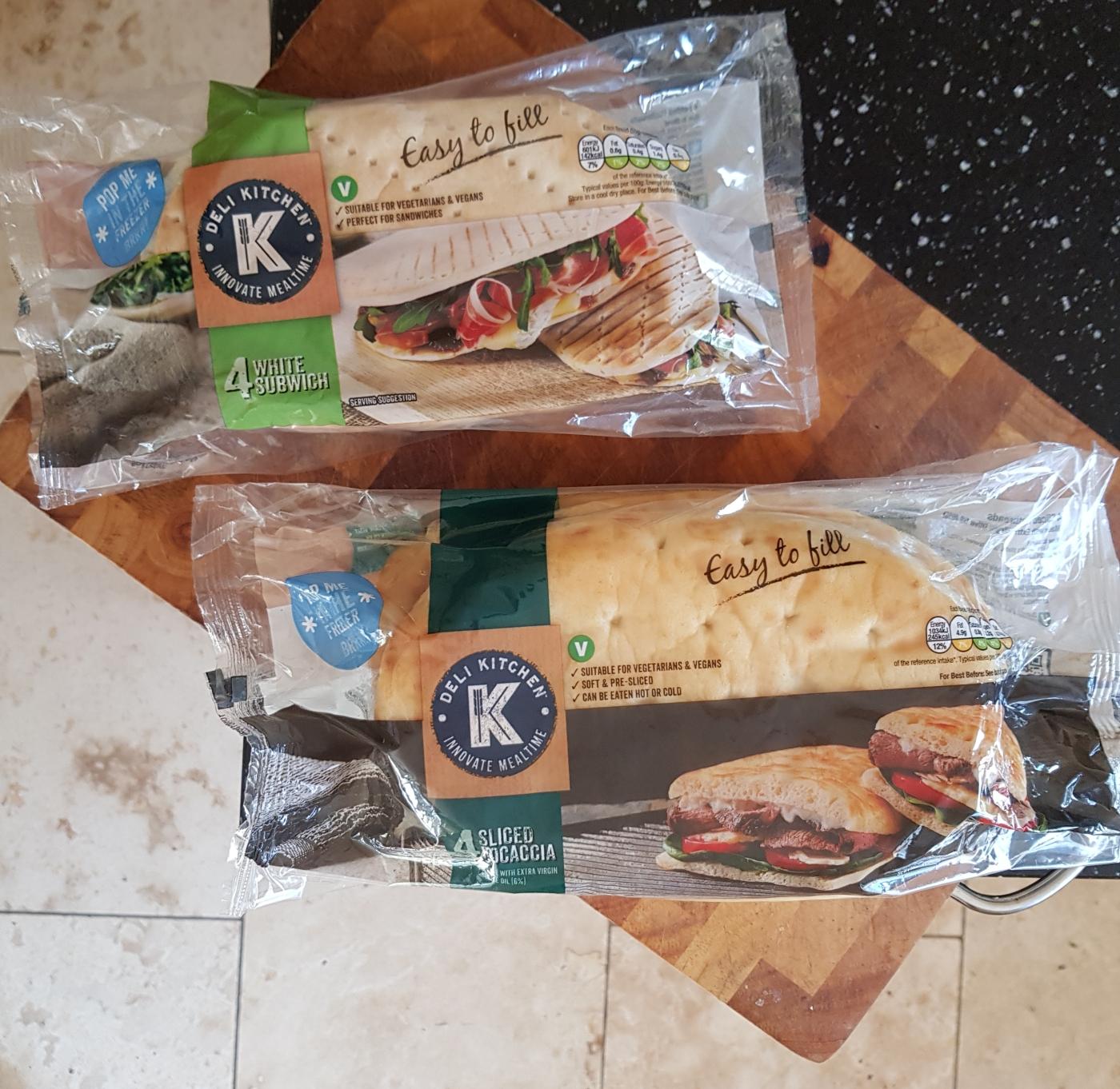 deli kitchen white subwich and focaccia flat bread